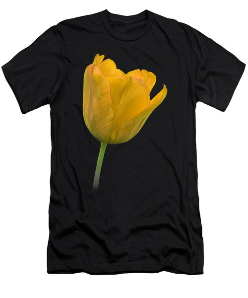 Yellow Tulip Open On Black Men's T-Shirt (Slim Fit) by Gill Billington