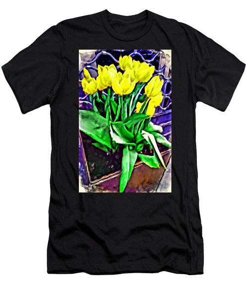 Men's T-Shirt (Athletic Fit) featuring the painting Yellow Tulips by Joan Reese
