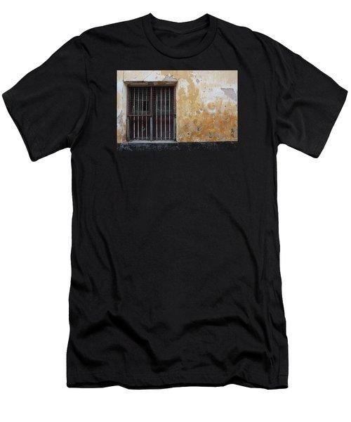 Yellow Wall, Gated Door Men's T-Shirt (Slim Fit) by Jennifer Mazzucco