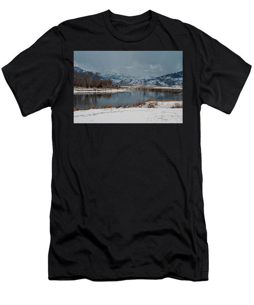 Yellowstone River In Light Snow Men's T-Shirt (Athletic Fit)