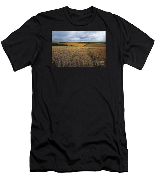 Yelow Fields And Fluffy Clouds  Men's T-Shirt (Athletic Fit)