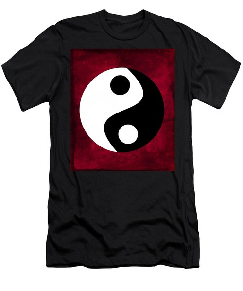 Men's T-Shirt (Athletic Fit) featuring the digital art Yin And Yang - Dark Red by Marianna Mills