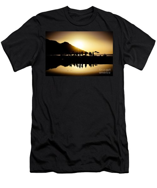 Yoga Sunrise At Sea Coast Men's T-Shirt (Athletic Fit)