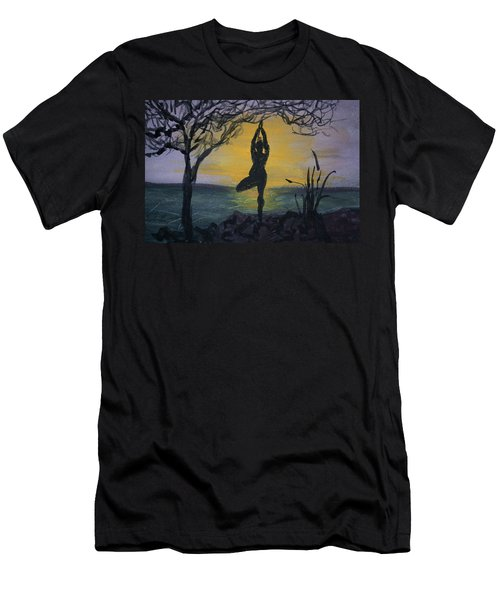 Yoga Tree Pose Men's T-Shirt (Slim Fit) by Donna Walsh