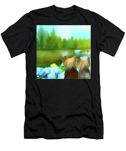 Men's T-Shirt (Athletic Fit) featuring the painting Yorkies At The Lago Negro by Catia Lee