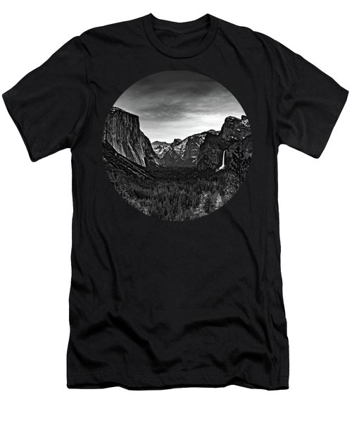 Yosemite Sunrise, Black And White Men's T-Shirt (Slim Fit) by Adam Morsa