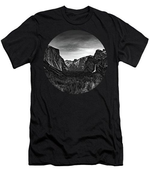 Yosemite Sunrise, Black And White Men's T-Shirt (Athletic Fit)