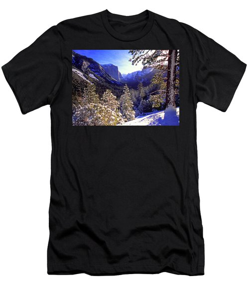 Yosemite Valley In Winter, California Men's T-Shirt (Athletic Fit)