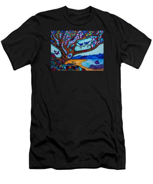 Men's T-Shirt (Slim Fit) featuring the painting Love Is All Around Us by Lori Miller