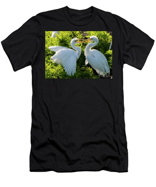 Young Great Egrets Playing Men's T-Shirt (Athletic Fit)