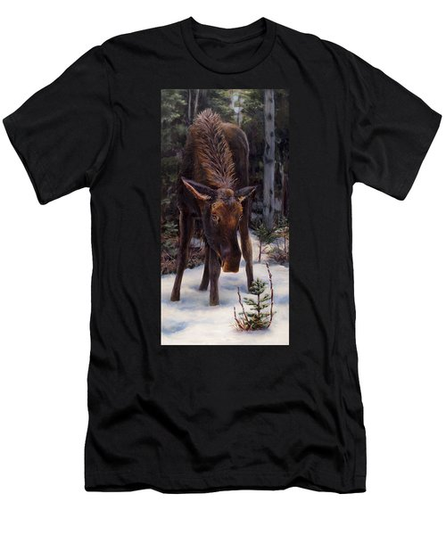 Young Moose And Pussy Willows Springtime In Alaska Wildlife Painting Men's T-Shirt (Athletic Fit)