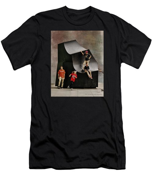Young Skaters Around A Sculpture Men's T-Shirt (Slim Fit) by Pedro L Gili