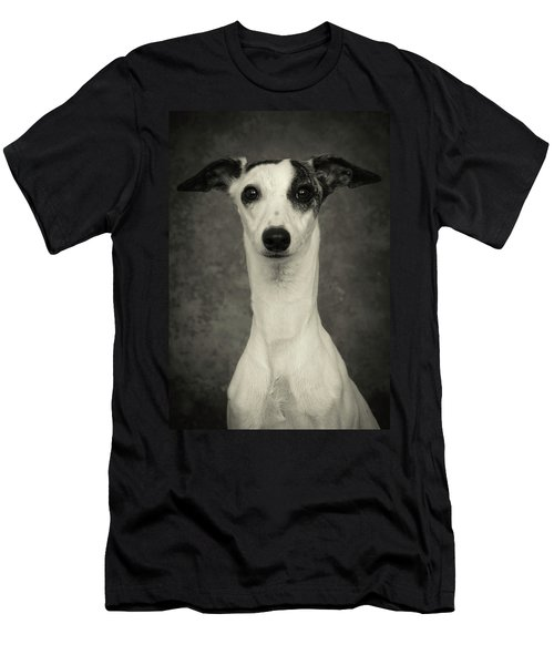 Young Whippet In Black And White Men's T-Shirt (Athletic Fit)