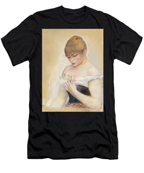 Young Woman Holding A Flower. Portrait Of Jeanne Samary Men's T-Shirt (Athletic Fit)