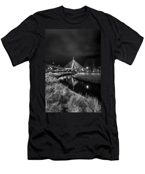 Zakim Bridge Reflecting Under A Moody Sky Men's T-Shirt (Athletic Fit)