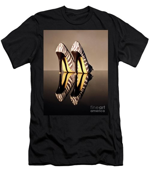 Men's T-Shirt (Slim Fit) featuring the photograph Zebra Print Stiletto by Terri Waters