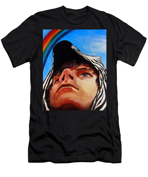 Men's T-Shirt (Athletic Fit) featuring the painting Zebras Always Look For Rainbows by Rene Capone