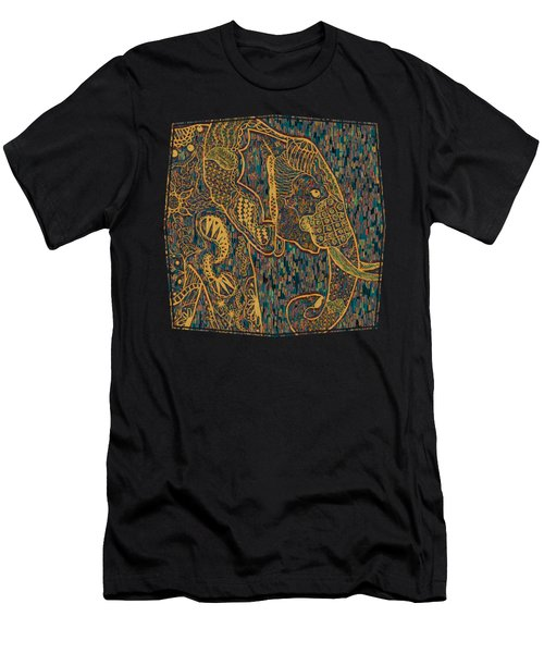 Men's T-Shirt (Athletic Fit) featuring the painting Zentangle Elephant-oil Gold by Becky Herrera
