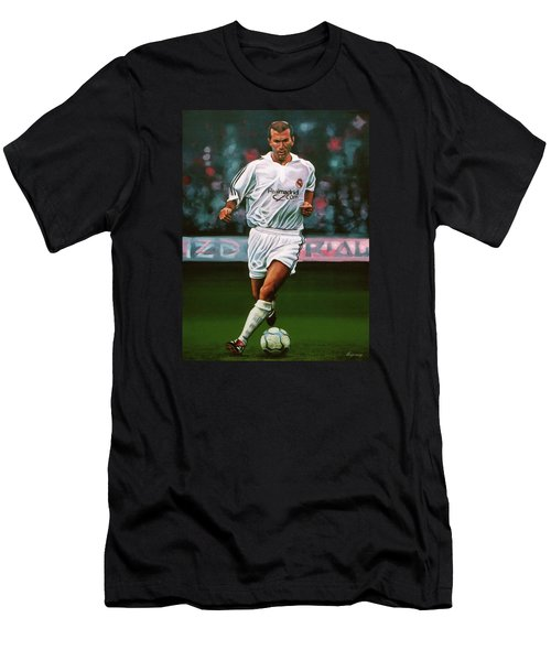 Zidane At Real Madrid Painting Men's T-Shirt (Slim Fit) by Paul Meijering