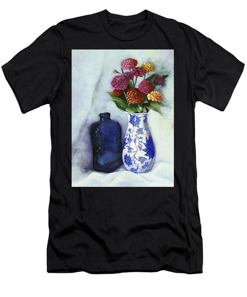 Zinnias With Blue Bottle Men's T-Shirt (Athletic Fit)