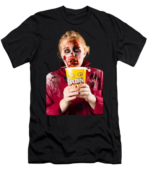Zombie Woman Watching Scary Movie With Popcorn Men's T-Shirt (Athletic Fit)