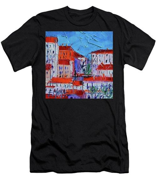 Zoom On Croix-rousse - Lyon France - Palette Knife Oil Painting By Mona Edulesco Men's T-Shirt (Athletic Fit)