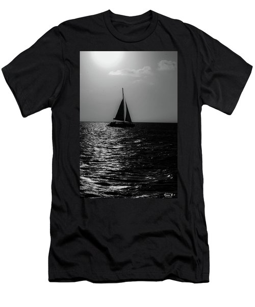 Sailing Into The Sunset Black And White Men's T-Shirt (Athletic Fit)