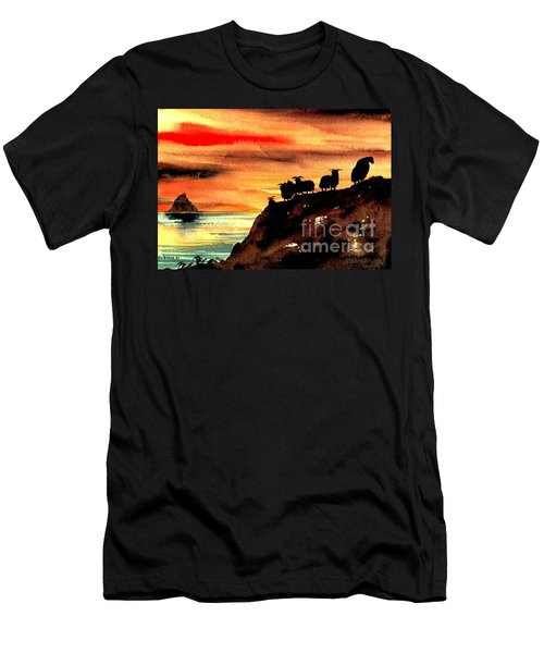 Men's T-Shirt (Athletic Fit) featuring the painting Sceilig Micil From Teraught, Kerry by Val Byrne