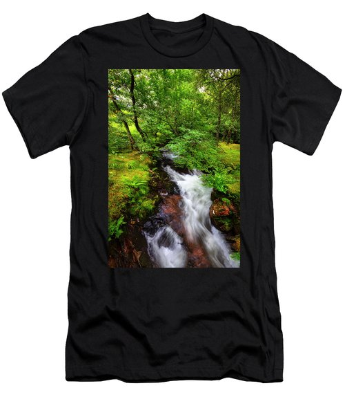 Waterfall In The Forest Men's T-Shirt (Athletic Fit)