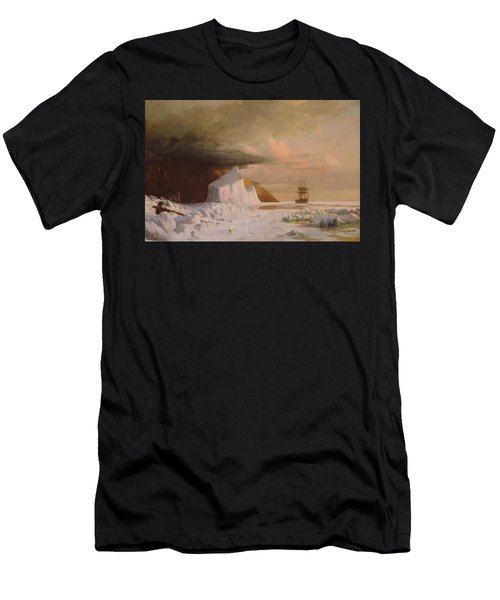 Men's T-Shirt (Athletic Fit) featuring the painting An Arctic Summer - Boring Through The Pack In Melville Bay by William Bradford