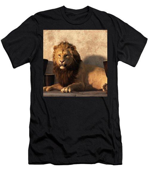 Men's T-Shirt (Athletic Fit) featuring the digital art A Lion Among Drums by Daniel Eskridge