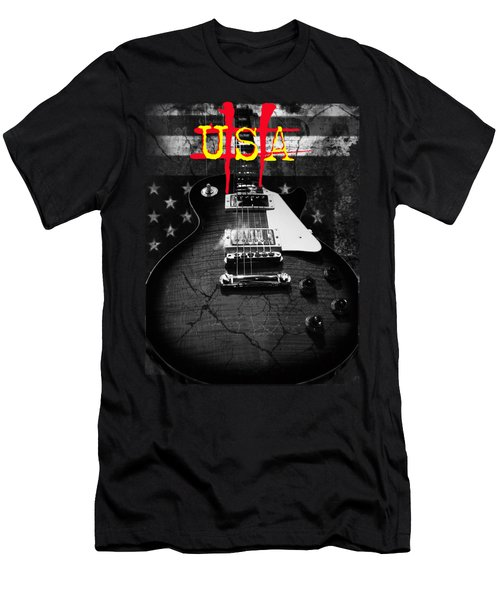 Abstract Relic Guitar Usa Flag Men's T-Shirt (Athletic Fit)