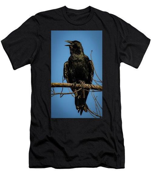 Men's T-Shirt (Athletic Fit) featuring the photograph American Crow by Lora J Wilson