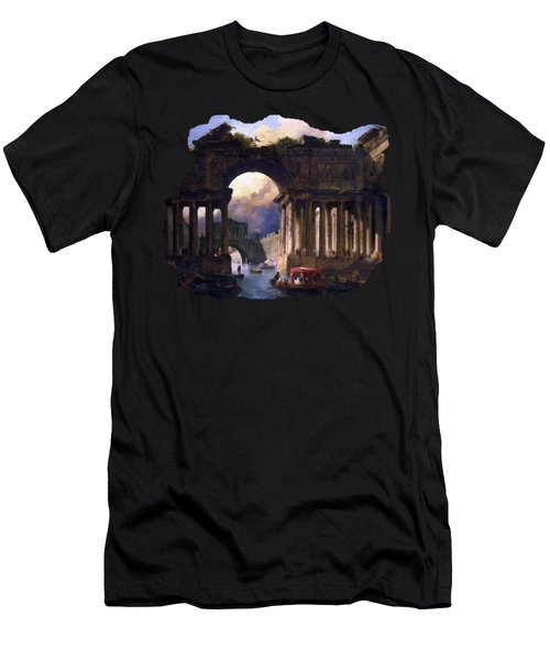 Architectural Landscape With A Canal By Hubert Robert Men's T-Shirt (Athletic Fit)