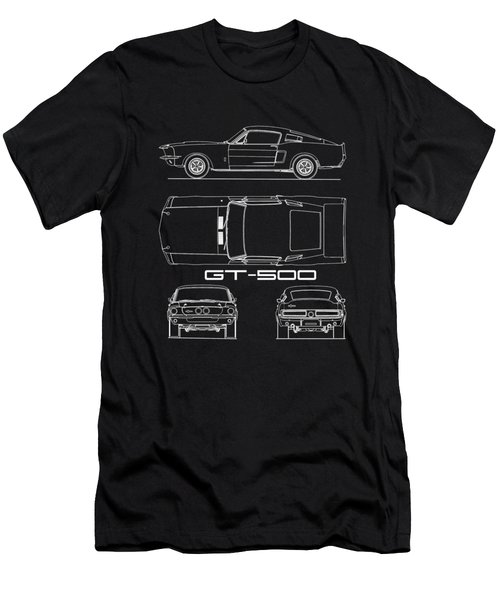 Shelby Mustang Gt500 Blueprint Men's T-Shirt (Athletic Fit)