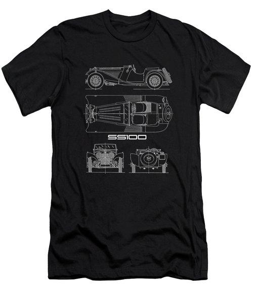 Jaguar Ss100 Blueprint Men's T-Shirt (Athletic Fit)