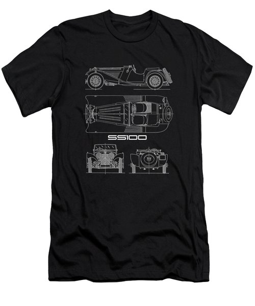 Jaguar Ss100 Blueprint Men's T-Shirt (Athletic Fit)
