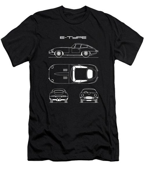 Jaguar E Type Blueprint - Black Men's T-Shirt (Athletic Fit)