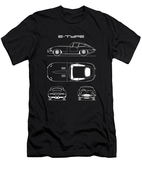 Jaguar E Type Blueprint - Black Men's T-Shirt (Athletic Fit)