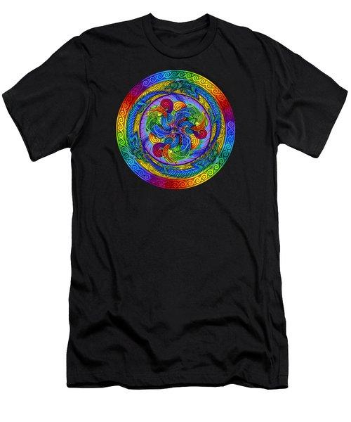 Psychedelic Dragons Rainbow Mandala Men's T-Shirt (Athletic Fit)