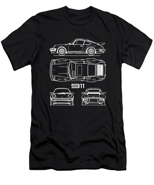 911 Turbo Blueprint - Black Men's T-Shirt (Athletic Fit)