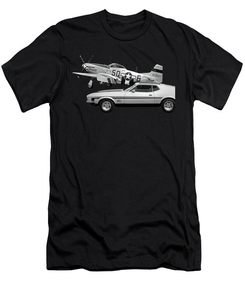 Mach 1 Mustang With P51 In Black And White Men's T-Shirt (Athletic Fit)