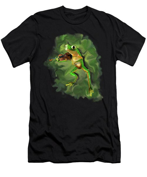Humorous Tree Frog Playing A Fiddle Men's T-Shirt (Athletic Fit)