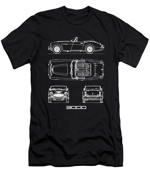 Austin-healey 3000 Blueprint Black Men's T-Shirt (Athletic Fit)