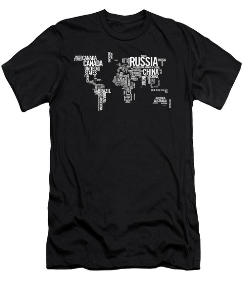 World Map Typo Men's T-Shirt (Athletic Fit)