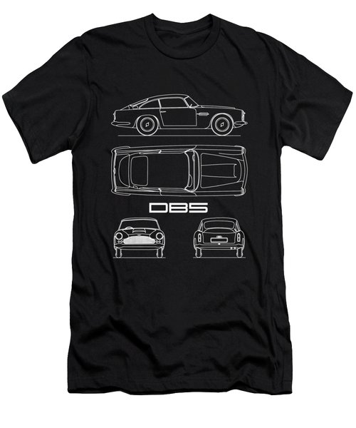 Aston Db5 Blueprint Black Men's T-Shirt (Athletic Fit)