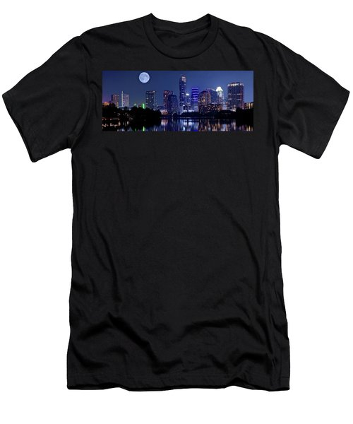Austin At Lady Bird Lake With Moon Men's T-Shirt (Athletic Fit)