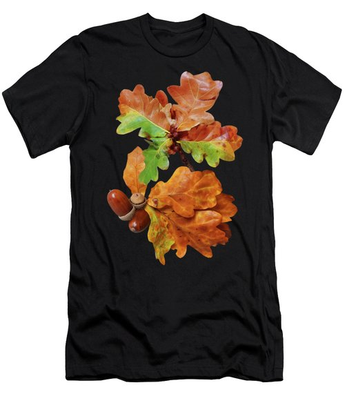 Autumn Oak Leaves And Acorns On Black Men's T-Shirt (Athletic Fit)