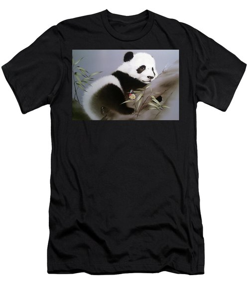 Baby Panda And Butterfly Men's T-Shirt (Athletic Fit)