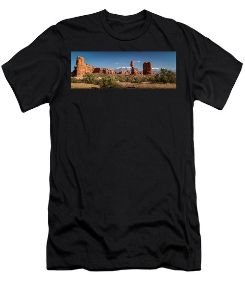 Men's T-Shirt (Athletic Fit) featuring the photograph Balanced Rock And The La Sal Mountain Range by David Morefield